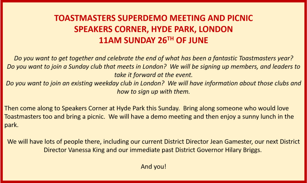 Toastmasters UK South April news