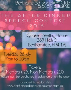 Berkhamsted Poster After Dinner Speech Contest 28 July