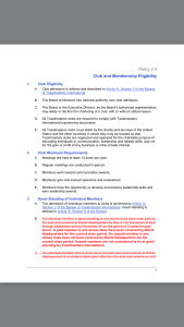 Club and Membership Policy page 1