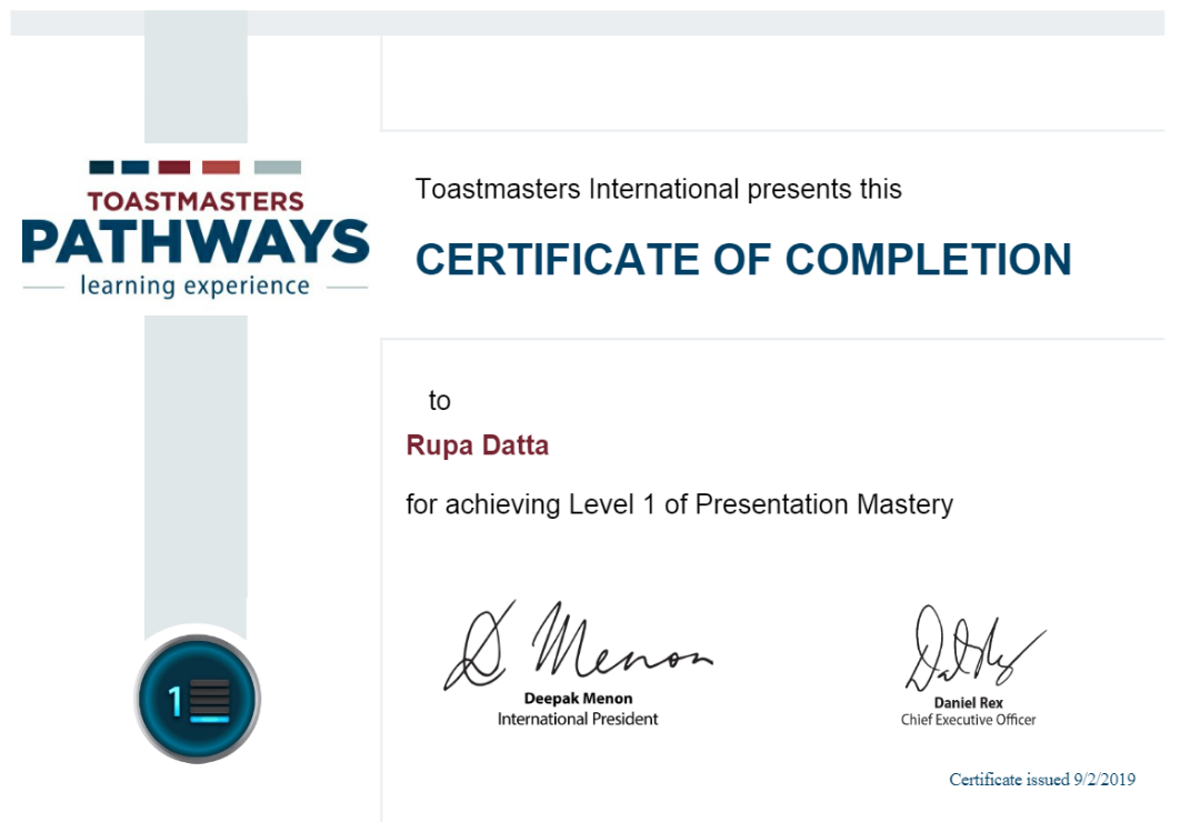Pathways Level 1 completion Certificate
